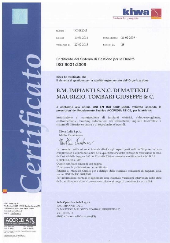 ISO 9001 2008 BM IMPIANTI