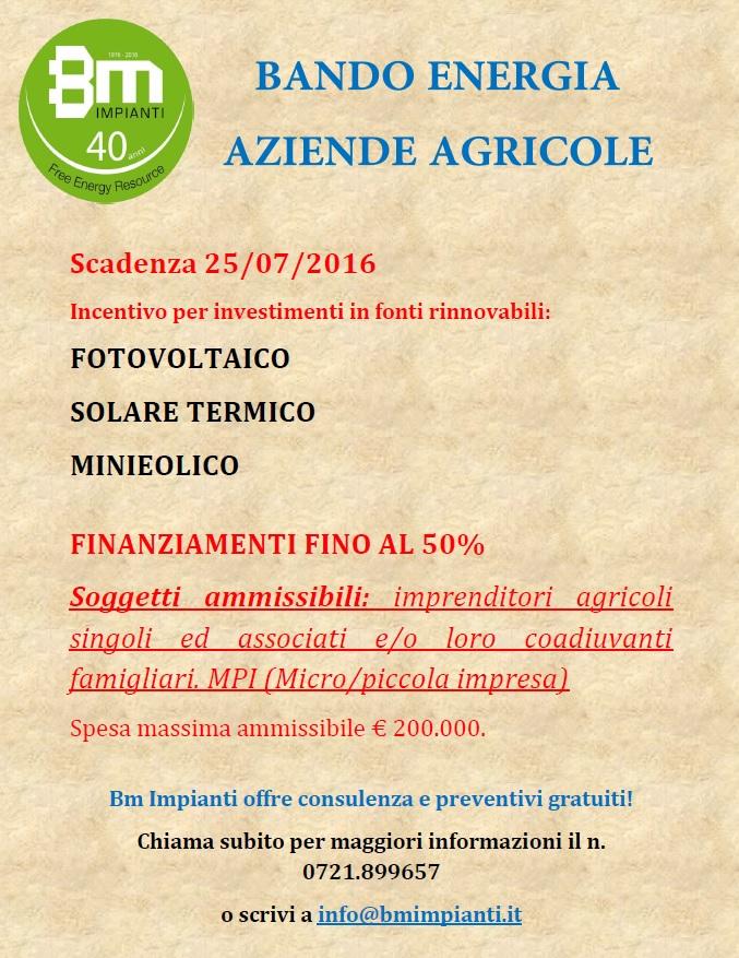 Bando energia aziende agricole 2016