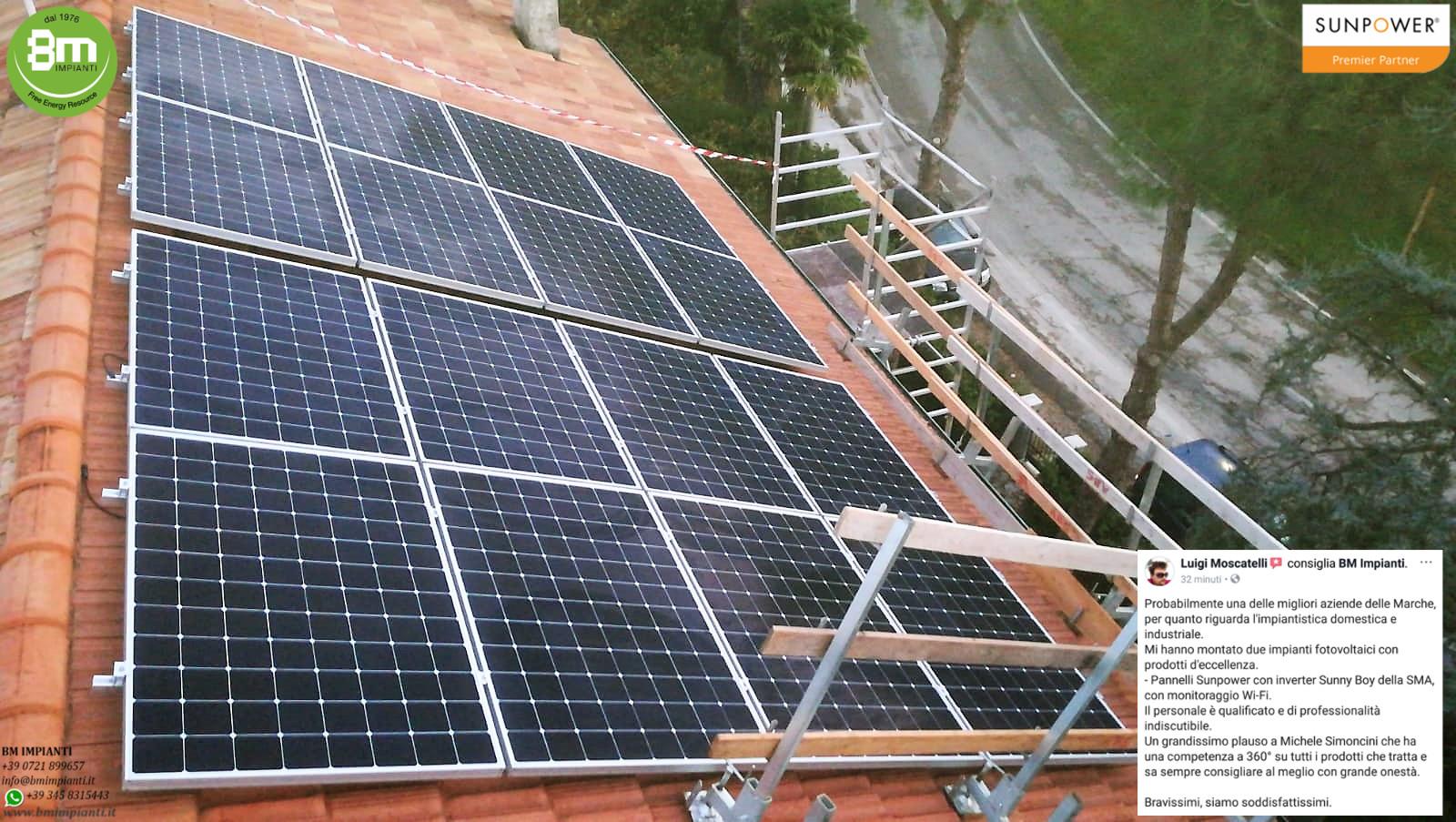 3 kWp 3kWp SunPower Moscatelli BM Impianti Mondolfo Pesaro l