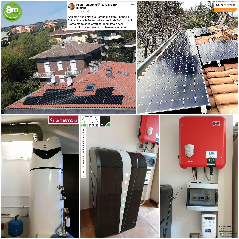 Fotovoltaico SunPower batteria pompa calore BM IMPIANTI Tamburini Pesaro...