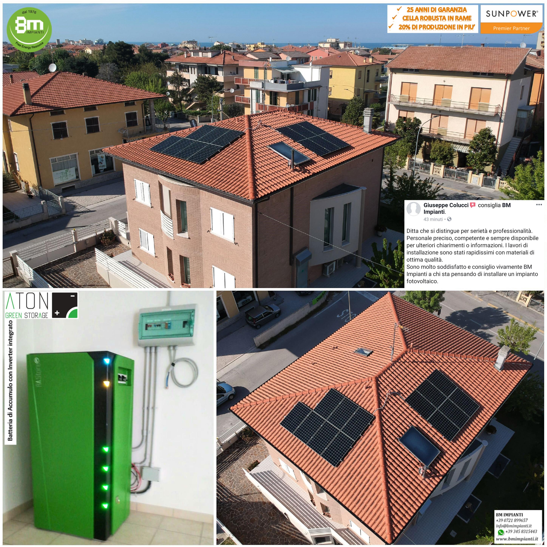 Fotovoltaico batteria SunPower BM Impianti Colucci Marotta Pesaro MArche...