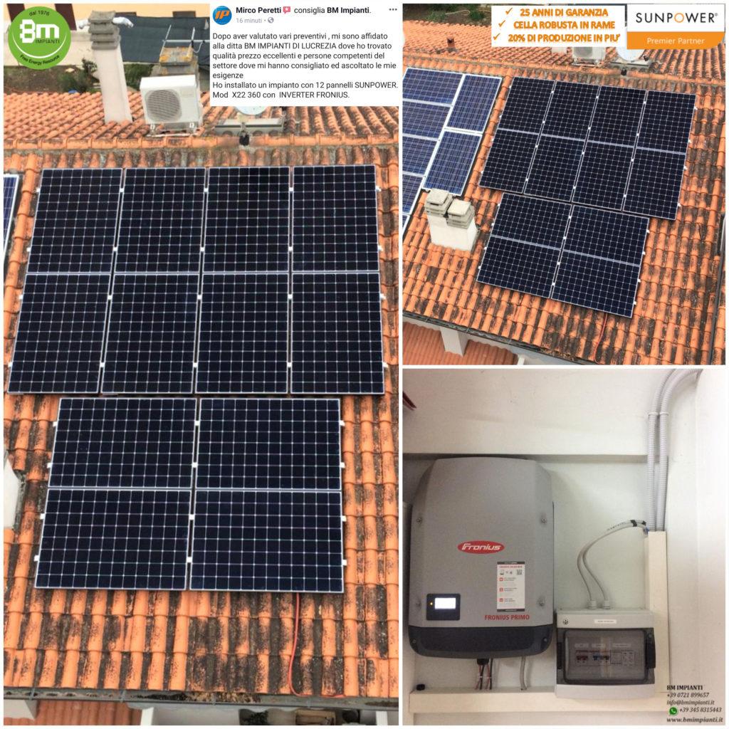 Fotovoltaico SunPower BM Impianti Peretti Cartoceto Pesaro Calcinelli Ma...